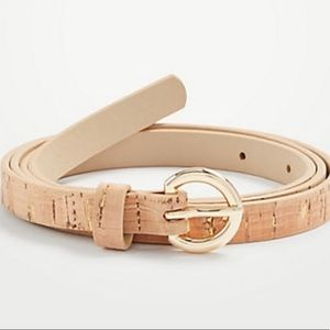 Ann Taylor Cork Textured Skinny Belt